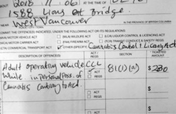 photo image 23-year-old Calgary Driver Gets West Vancouver's First Cannabis Ticket